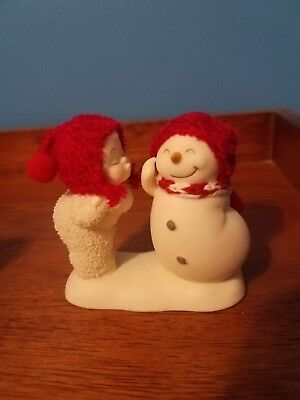 Vintage Christmas Department 56 Snowbabies Baby Kissing Snowman Red Hats