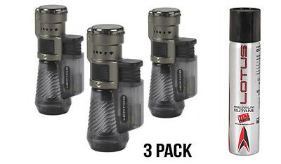 Vertigo by Lotus Cyclone Triple Torch Cigar Lighter Charcoal 3 Pack + Fuel, New
