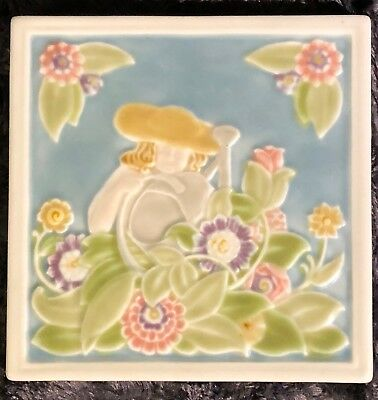 Rookwood Pottery Garden Theme Square Trivet, Perfect Condition