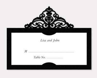 Laser cut black name place card  for wedding / Party (20pcs)