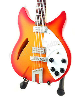 Miniature Guitar GEORGE HARRISON with free stand THE BEATLES Ricky 12 STRING