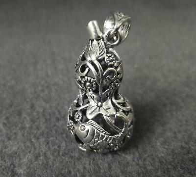 Exquisite Tibetan silver Old carving fish gourd small pendant NR