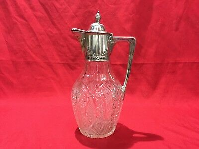 Rare Russian Silver Mounted Claret Jug 27.4 cm 800 Silver & Cut Glass 1908