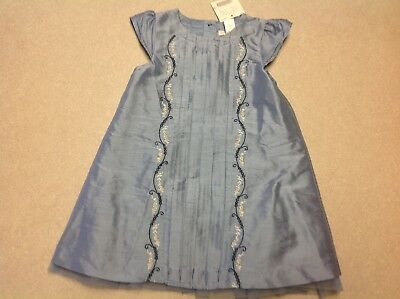 NWT Janie and Jack Beautifully Adorned Blue Embroidered Silk Pleated Dress 18 24