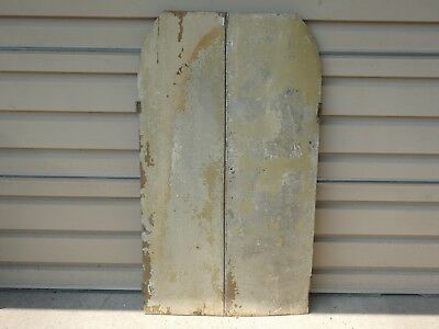 19th C EARLY PRIMITIVE SOLID WOOD CUPBOARD DOORS OLD CHIPPY PAINT SHABBY CHIC