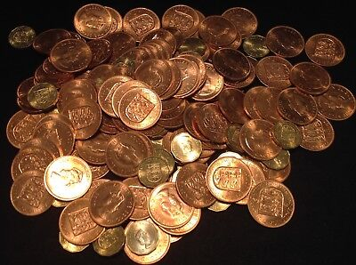 3 lbs Lot of Uncirculated Coins Bailwick of Jersey, all 1964, Penny & Threepence