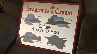 Rare Seagram's 7 Crown Mirror Wall Hanging with Air Force Theme
