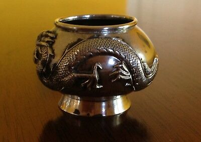 "Antique Chinese Solid Silver Incense Bowl Small Dragon QING Period 1""x1.75"""