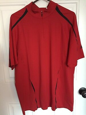Adidas GOLF CLIMACOOL Men's S/S Polyester 1/4 Zip Polo Shirt Red w/Black NWT XL