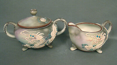 Signed Nippon Gray Moriage Dragonware Creamer & Covered Sugar