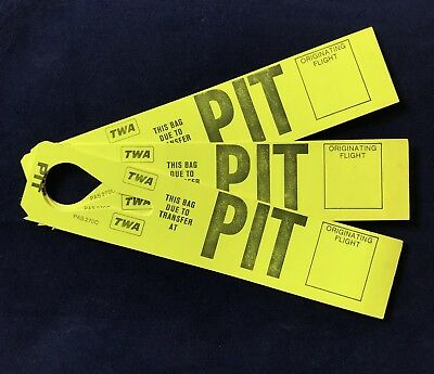 Vtg 3 TWA Trans World Airlines Luggage Baggage Transfer Tags Pittsburgh