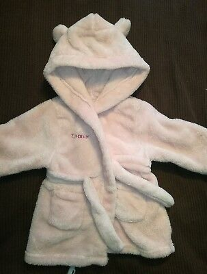 Personalised embroidered Dressing Gown, Eleanor. 6-9 Months pink