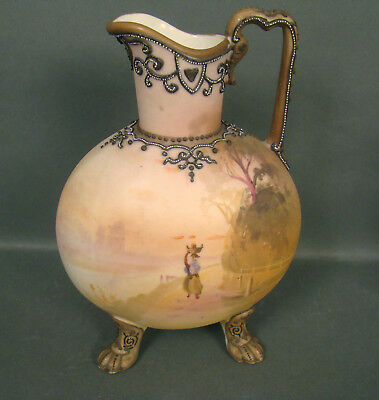 Signed Nippon Moriage Footed Decorated Ewer/ Pitcher