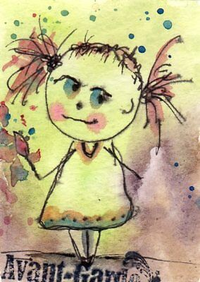 ACEO Original Painting Artist Girl illustration Whimsical Art by FAiRyPiGGleS