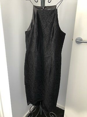 Forever New Black Lace High Neck Dress Size 10 Worn Once Great Condition