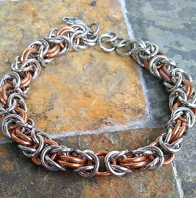 stainless steel copper byzantine chainmaille bracelet handcrafted