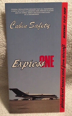 Express One Boeing 727-100 Safety Card Emergency Instructions 1994 B727