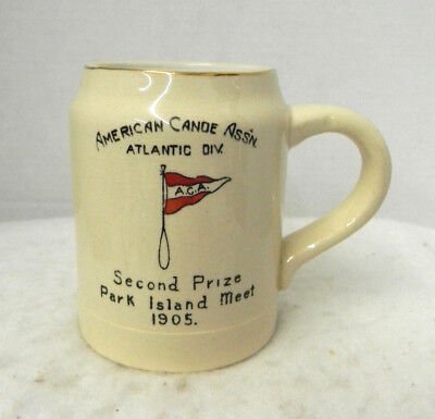 American Canoe Assn. 1905 Yellow Ware Mug Atlantic Div. 2nd Place Commerative