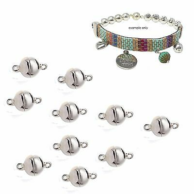 10 x 8mm Silver Plated Cast Metal Ball Magnetic Clasps