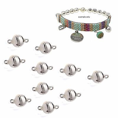 10 x Silver Plated Cast Metal Ball Magnetic Clasps 8mm dia