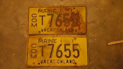 Maine License Plate Tags Pair 1956 ME Com Vacationland