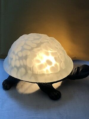 Turtle Table Lamp Tortoise Night Light Antiqued Brass W/frosted Glass Shell