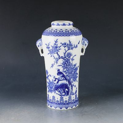 Chinese Porcelain Hand-painted Flower & Birds Vase W Qianlong Mark CC0275