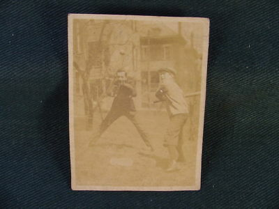 Circa 1910 Boys in Action Playing Baseball Bat Glove Ball RPPC Partial Postcard
