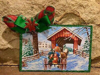Horse, Buggy Covered Bridge Vintage Christmas Card Image Glittered Wood Ornament