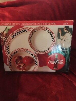 Gibson Coca Cola Diner Stoneware 3 Piece Completer Set Black Red White Checks