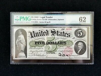 1862 $5 Legal Tender PMG 62 UNCIRCULATED Unc currency 10 PMG