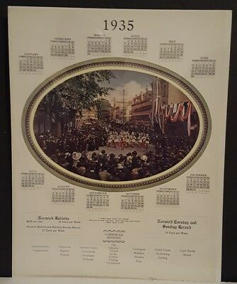 "Vintage NORWICH BULLETIN Year Long Calendar 1935 ""Tubbs Band lead the Parade"""