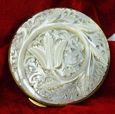 Carved Flower - Collectable Mother Of Pearl Shell Powder Compact