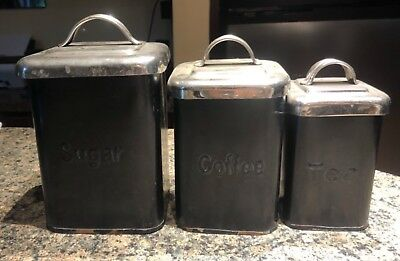 Vintage kitchen Canisters black and silver set of 3 steel