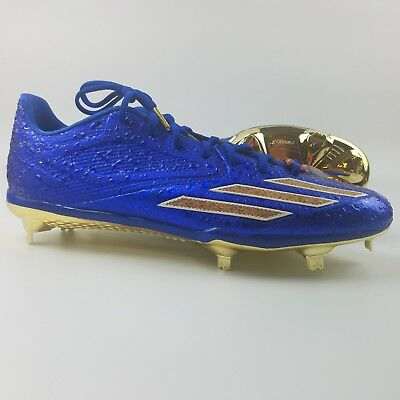 204c669e9c3 Adidas Adizero Afterburner 3 Mens Size 12.5 Baseball Cleats Blue Gold Cork