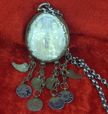 INTERESTING CARVED MOTHER OF PEARL SHELL NATIVITY or PRIEST'S RELIGIOUS NECKLACE