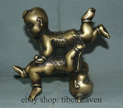 "7"" Old Chinese Bronze Copper Lucky Boy And Girl Children Figure Figurine Statue"