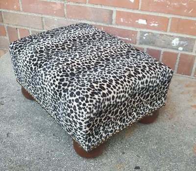 Vintage Foot Stool Bench Soft Faux Cheetah Upholstery 16x12.5x8.5