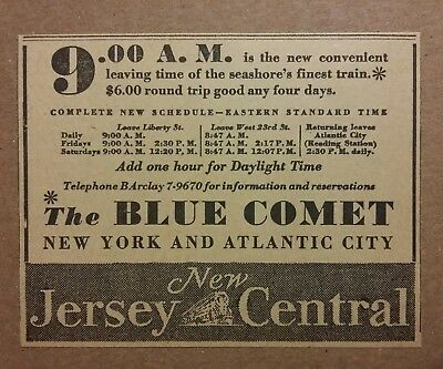1933 New Jersey Central Railroad Ad Blue Comet