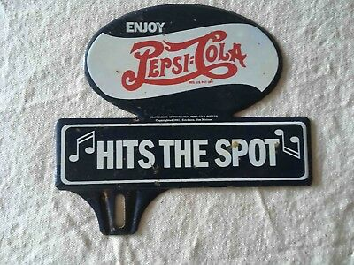Vintage Pepsi-Cola Soda Double Dot Hit's The Spot Slogan Ad License Plate Topper