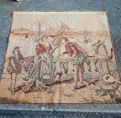 Vintage Tapestry Wall Hanging Woven Victorian Scene Made In Italy 38x39