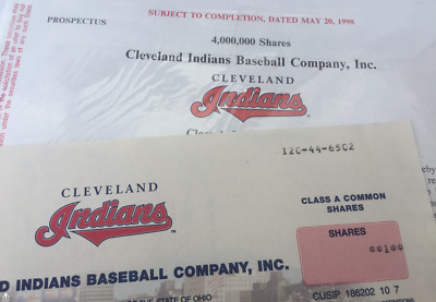 Stock Certificate - CLEVELAND INDIANS BASEBALL CO INC, 1998 with Prospectus