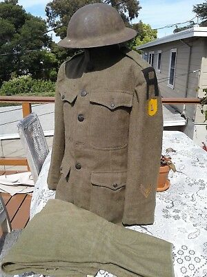 RARE WWI US 1st ARMY CHEMICAL CORPS UNIFORM ID'ed TUNIC TROUSERS & UK MKI HELMET