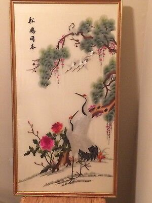 Vintage Chinese Silk Embroidery Cranes framed w/glass