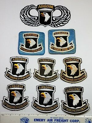 VINTAGE and more current 101st AIRBORNE DIVISION ASSN. PATCHES-LOT OF 9 c