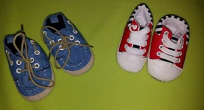 LOT OF two pairs of BABY BOY SHOES white BLUE red BOAT SHOES tennis CRIB soft