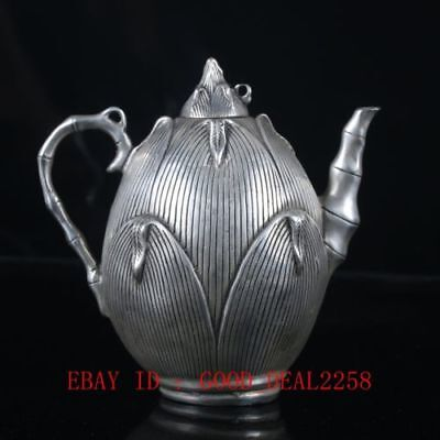 Chinese Silvering Copper Bamboo Shoots Teapots Made By The Royal DaQing BT0131.b