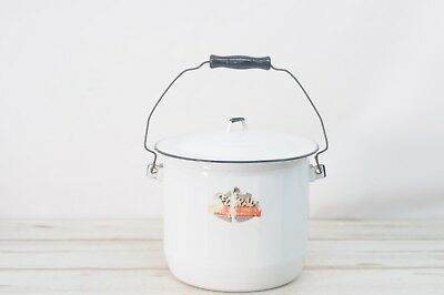 Antique/Vintage Diaper Pail White With Black Federal Enamelware Chamber Pot