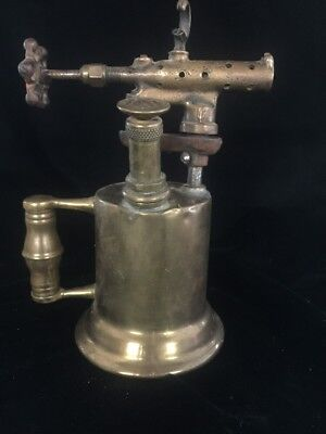 "Beautiful Vintage The Turner BrassWorks 10"" Hand Brass Torch - Sycamore Illinois"
