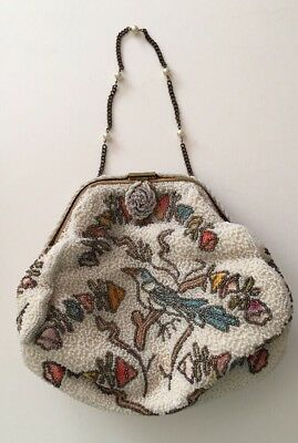Antique Vintage French France Micro Beaded Bag Birds Free Shipping